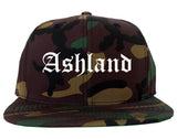 Ashland Ohio OH Old English Mens Snapback Hat Army Camo