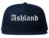 Ashland Ohio OH Old English Mens Snapback Hat Navy Blue