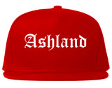 Ashland Ohio OH Old English Mens Snapback Hat Red