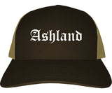 Ashland Ohio OH Old English Mens Trucker Hat Cap Brown