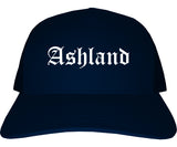 Ashland Ohio OH Old English Mens Trucker Hat Cap Navy Blue