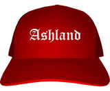 Ashland Ohio OH Old English Mens Trucker Hat Cap Red