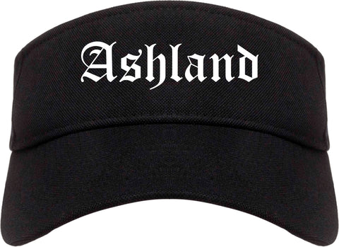 Ashland Ohio OH Old English Mens Visor Cap Hat Black
