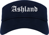 Ashland Ohio OH Old English Mens Visor Cap Hat Navy Blue