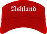 Ashland Ohio OH Old English Mens Visor Cap Hat Red