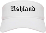 Ashland Ohio OH Old English Mens Visor Cap Hat White