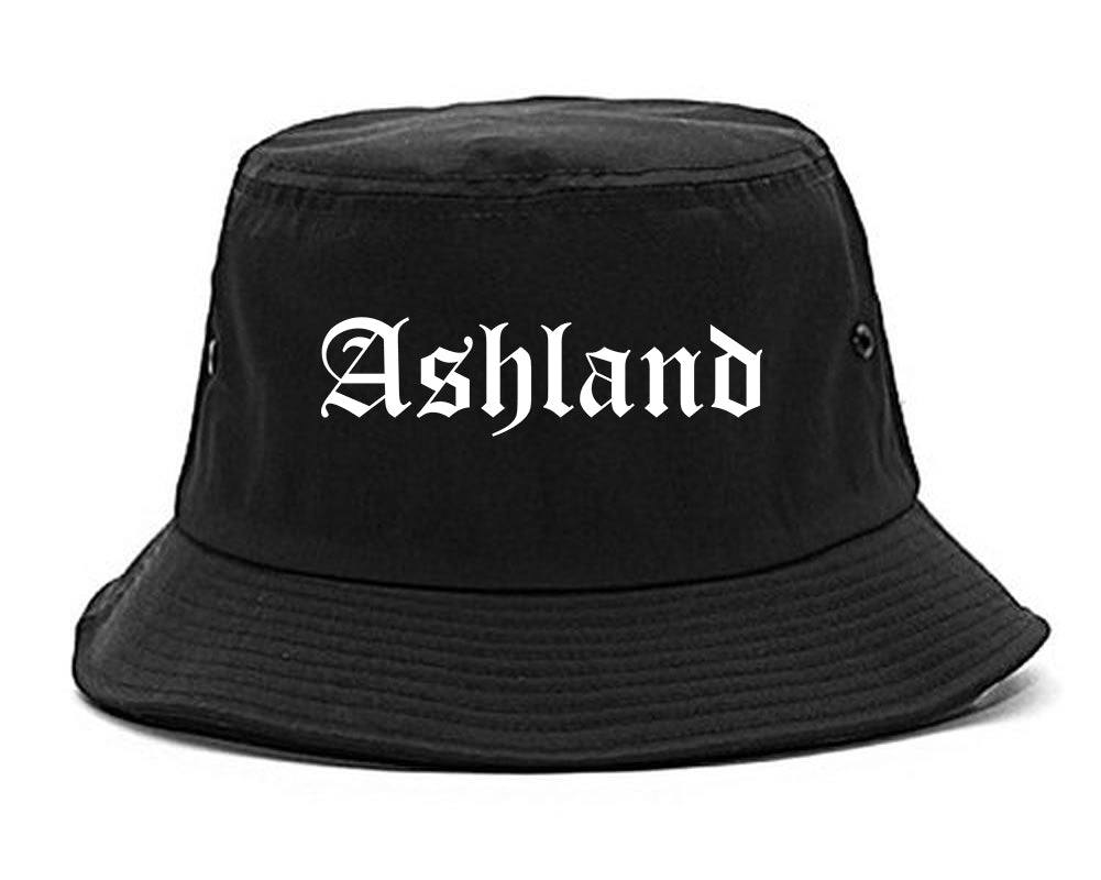 Ashland Wisconsin WI Old English Mens Bucket Hat Black