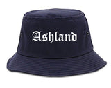 Ashland Wisconsin WI Old English Mens Bucket Hat Navy Blue