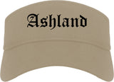 Ashland Wisconsin WI Old English Mens Visor Cap Hat Khaki