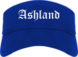Ashland Wisconsin WI Old English Mens Visor Cap Hat Royal Blue