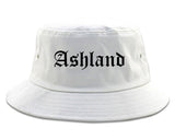 Ashland Wisconsin WI Old English Mens Bucket Hat White