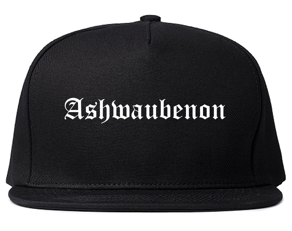 Ashwaubenon Wisconsin WI Old English Mens Snapback Hat Black