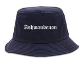 Ashwaubenon Wisconsin WI Old English Mens Bucket Hat Navy Blue