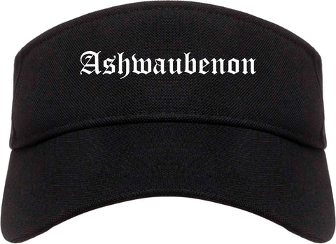 Ashwaubenon Wisconsin WI Old English Mens Visor Cap Hat Black
