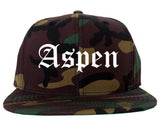 Aspen Colorado CO Old English Mens Snapback Hat Army Camo