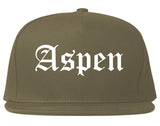 Aspen Colorado CO Old English Mens Snapback Hat Grey