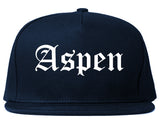 Aspen Colorado CO Old English Mens Snapback Hat Navy Blue