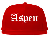 Aspen Colorado CO Old English Mens Snapback Hat Red