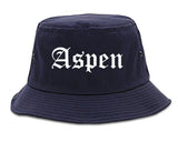 Aspen Colorado CO Old English Mens Bucket Hat Navy Blue