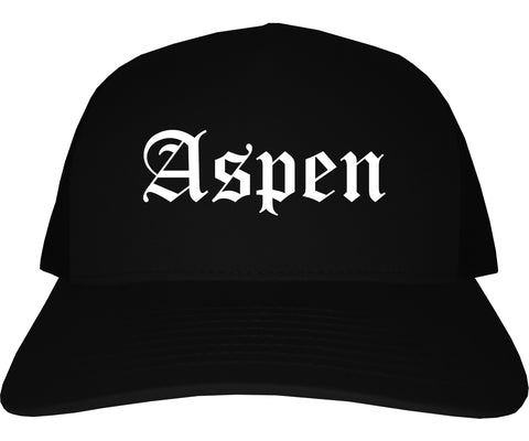 Aspen Colorado CO Old English Mens Trucker Hat Cap Black