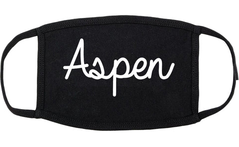 Aspen Colorado CO Script Cotton Face Mask Black