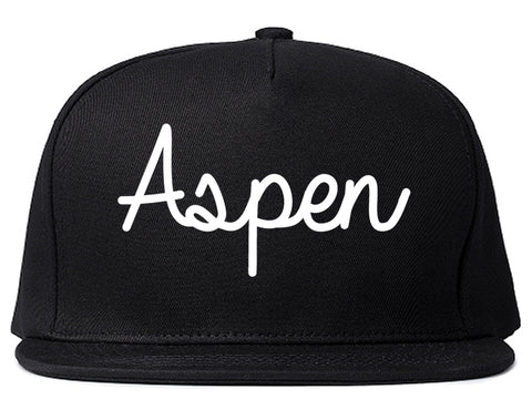 Aspen Colorado CO Script Mens Snapback Hat Black