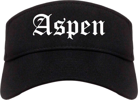 Aspen Colorado CO Old English Mens Visor Cap Hat Black