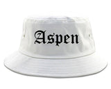 Aspen Colorado CO Old English Mens Bucket Hat White