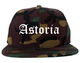 Astoria Oregon OR Old English Mens Snapback Hat Army Camo