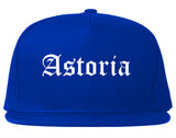 Astoria Oregon OR Old English Mens Snapback Hat Royal Blue