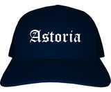 Astoria Oregon OR Old English Mens Trucker Hat Cap Navy Blue