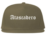 Atascadero California CA Old English Mens Snapback Hat Grey