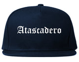 Atascadero California CA Old English Mens Snapback Hat Navy Blue