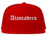 Atascadero California CA Old English Mens Snapback Hat Red
