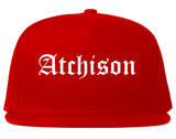 Atchison Kansas KS Old English Mens Snapback Hat Red