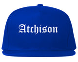 Atchison Kansas KS Old English Mens Snapback Hat Royal Blue