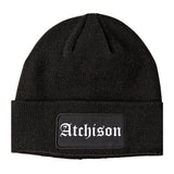 Atchison Kansas KS Old English Mens Knit Beanie Hat Cap Black
