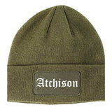 Atchison Kansas KS Old English Mens Knit Beanie Hat Cap Olive Green