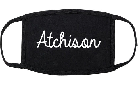 Atchison Kansas KS Script Cotton Face Mask Black
