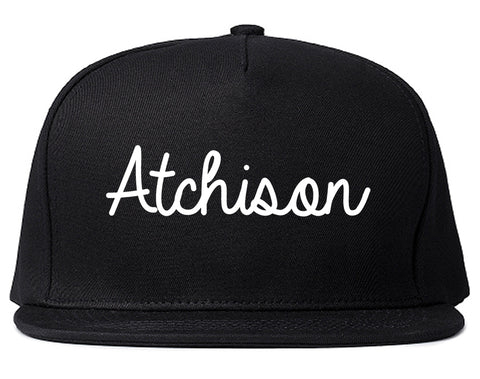 Atchison Kansas KS Script Mens Snapback Hat Black