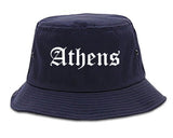Athens Alabama AL Old English Mens Bucket Hat Navy Blue
