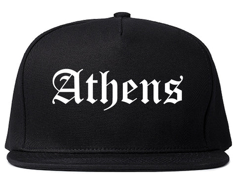 Athens Georgia GA Old English Mens Snapback Hat Black