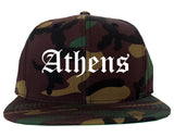 Athens Ohio OH Old English Mens Snapback Hat Army Camo