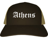 Athens Ohio OH Old English Mens Trucker Hat Cap Brown