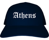 Athens Ohio OH Old English Mens Trucker Hat Cap Navy Blue