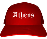 Athens Ohio OH Old English Mens Trucker Hat Cap Red