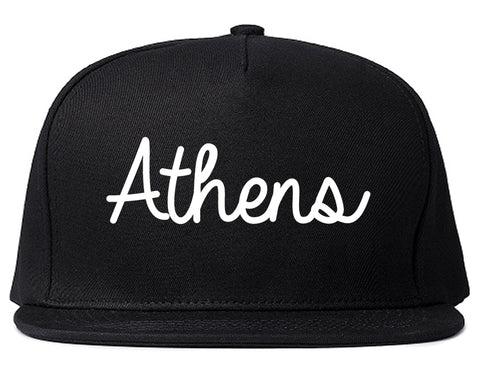 Athens Ohio OH Script Mens Snapback Hat Black