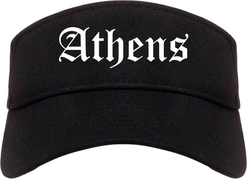 Athens Ohio OH Old English Mens Visor Cap Hat Black