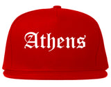 Athens Texas TX Old English Mens Snapback Hat Red