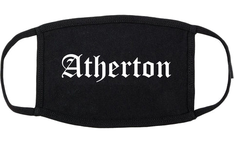Atherton California CA Old English Cotton Face Mask Black